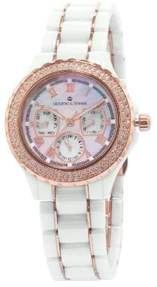 Mother of Pearl Herzog & Shne Herzog & Söhne Women's Quartz Watch with Dial Analogue Display and White Ceramic Bracelet HS202-586