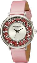 Stuhrling Original Women's 793.01 Vogue Pink Crystal Accented Leather Strap Watch