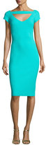 La Petite Robe di Chiara Boni Ecuba Cap-Sleeve Jersey Sheath Dress, Aqua