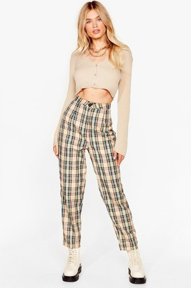 Nasty Gal Womens Checking Out High-Waisted Pants - Beige