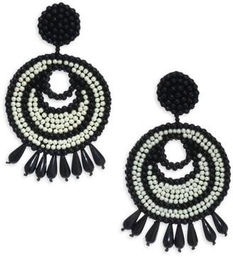 Kenneth Jay Lane Seed Bead Gypsy Hoop Clip-On Earrings