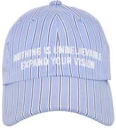 Juun.J Quote Embroidered Striped Cotton Hat