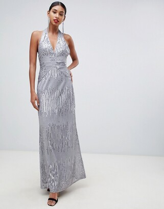 TFNC sequin maxi dress with open back in silver