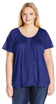 Fresh Women's Plus-Size S/Flutter Sleeve Top with Lace Trim