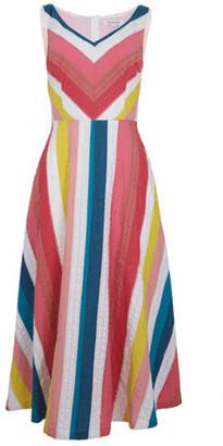 Emily And Fin Margot Midi Summer Rainbow Stripe Dress - 8