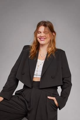 Nasty Gal Womens Woman's World Cropped Plus Blazer - black - 16