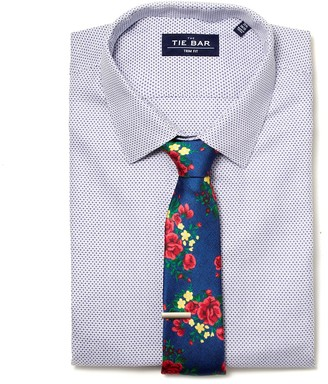 The Tie Bar Blue Patterned Crosshatch Non-Iron Shirt