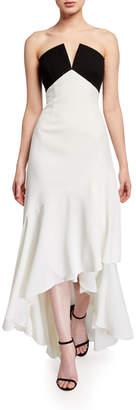 Jill Stuart Colorblock Strapless High-Low Flutter Skirt Gown