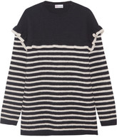 RED Valentino Ruffled Striped Wool-felt Sweater - Navy