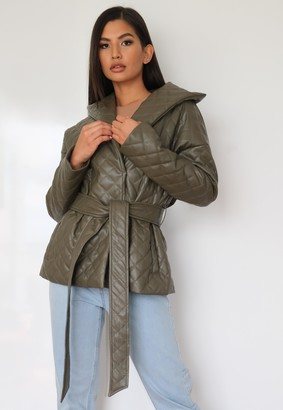 Missguided Khaki Fuax Leather Quilted Tie Waist Jacket