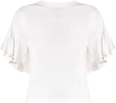 Chloé Silk-panelled ruffled-sleeve cotton-jersey top