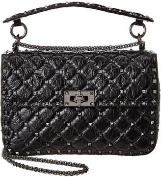 Valentino Rockstud Spike Medium Crinkled Leather Shoulder Bag
