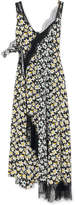 Joseph Bronte Lace-trimmed Floral-print Silk Midi Dress - Black