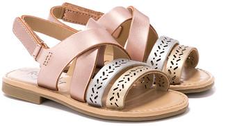 Rachel Girls' Sandals MULTI - Rose Gold & Silver Metallic Crisscross Lil' Duna Sandal - Girls