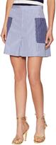 MDS Stripes Women's Cotton Striped Patch Pocket Mini Skirt