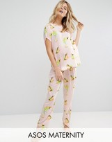 Asos Frog Print Woven Tee & Long Leg Pajama Set