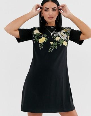 ASOS DESIGN embroidered dragon t-shirt dress