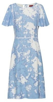 HUGO BOSS Tie-dye-print dress with eyelet lace detailing