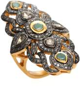 NUSH - Ornate Emerald & Diamond Cross Ring