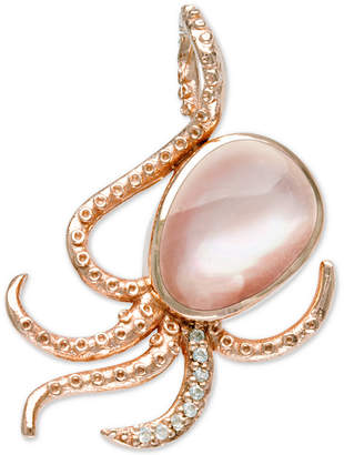 """Mother of Pearl Marahlago Mother-of-Pearl & White Sapphire (1/10 ct. t.w.) Octopus 21"""" Pendant Necklace in Rose Gold-Plated Sterling Silver"""