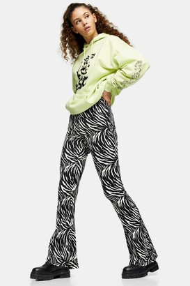 Topshop Womens Black And White Zebra Print Crinkle Flared Trousers - Monochrome
