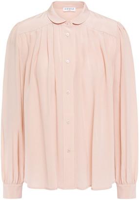 Claudie Pierlot Gathered Silk Crepe De Chine Shirt