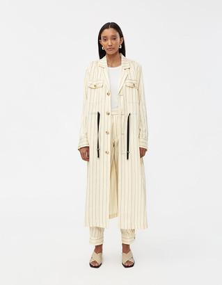 Hope Women's Port Long Coat in Cream Stripe, Size 38