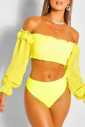boohoo Chiffon Sleeve Bandeau High Waist Bikini