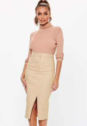 Missguided Stone Cargo Front Split Midi Skirt
