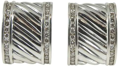 David Yurman Sterling Silver & 1.12ct Diamond Cigar Band Earrings
