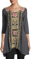 Johnny Was Leith Embroidered Panel Tunic, Plus Size