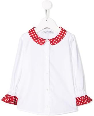 Simonetta Polka-Dot Trim Shirt