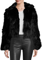 Adrienne Landau Rabbit Fur Cropped Jacket, Black