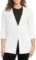 Lauren Ralph Lauren Plus Stretch Cotton-Blend Cardigan