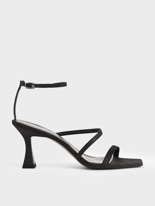 Charles & Keith Glitter Sculptural Heel Sandals