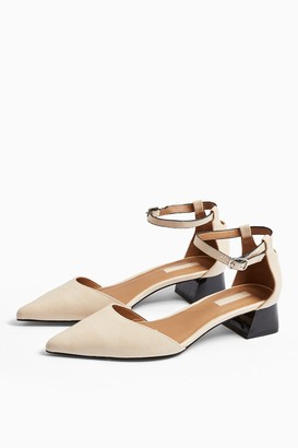 Topshop Womens Alexa White Pointed Block Heels - White