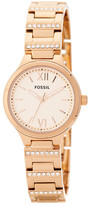Fossil Women's Rose Gold-Tone Spectacle Bracelet Watch