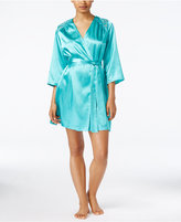Thalia Sodi Satin Lace-Trimmed Short Robe, Only at Macy's