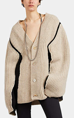 Maison Margiela Women's Spliced Oversized Cardigan - Beige, Tan