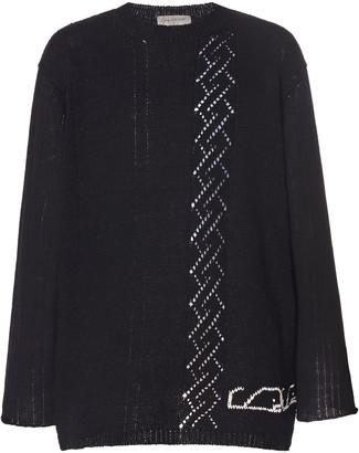 Yohji Yamamoto Cotton Intarsia-Knit Whale Sweater