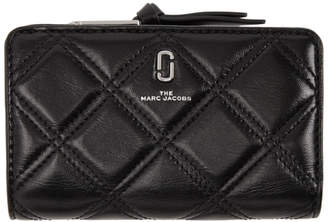 Marc Jacobs Black Quilted Softshot Compact Wallet