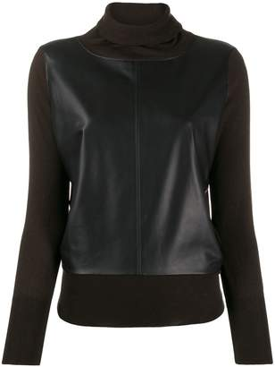 Snobby Sheep leather panel jumper