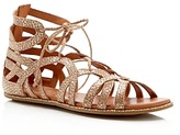 Gentle Souls Break My Heart Metallic Snake Embossed Lace Up Sandals