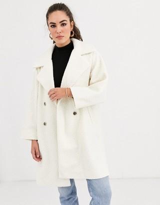 Vila boucle oversized jacket in cream-White