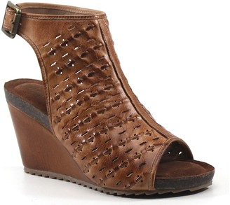 Diba True Leather Peep-Toe Wedges - Need Be