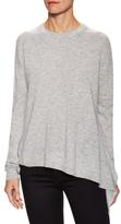 Wool Cashmere Asymmetrical Ruffle Crewneck Sweater