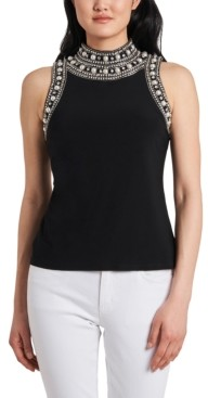 MSK Petite Faux-Pearl High-Neck Top