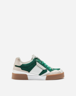 Dolce & Gabbana Miami Sneakers In Split-Grain Leather With Rubberized Logo Label