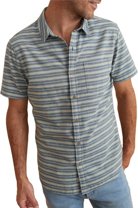 Marine Layer Classic Fit Indigo Stripe Short Sleeve Button-Up Shirt