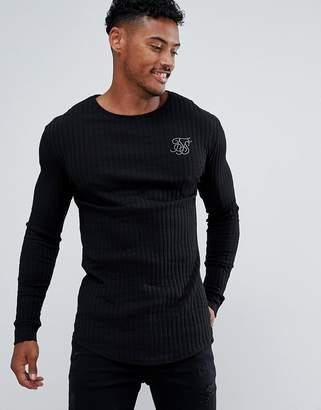 SikSilk long sleeve t-shirt in black rib